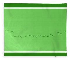 String Of Birds In Green Fleece Blanket