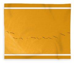 String Of Birds In Orange Fleece Blanket