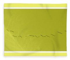 String Of Birds In Yellow Fleece Blanket