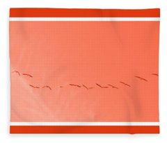 String  Of Brids In Red Fleece Blanket