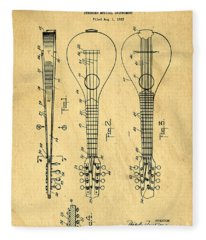 Stringed Musicial Instrument Patent Art Blueprint Drawing Fleece Blanket