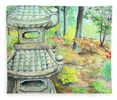 Strolling Through The Japanese Garden Fleece Blanket