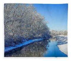 Study In Blue Fleece Blanket
