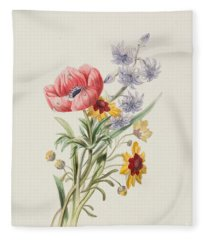 Study Of Wild Flowers Fleece Blanket