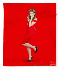 Stunning Pinup Girl In Red Rockabilly Fashion Fleece Blanket