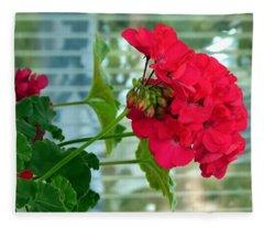 Stunning Red Geranium Fleece Blanket