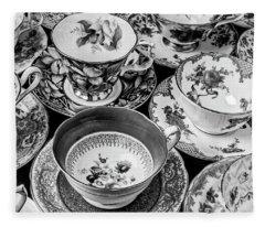 Stunning Tea Cups In Black And White Fleece Blanket