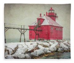 Sturgeon Bay Pierhead Lighthouse Storm Fleece Blanket