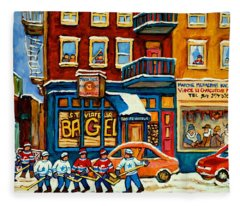 St.viateur Bagel Hockey Montreal Fleece Blanket
