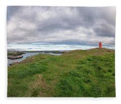 Stykkisholmur Harbor Pano Fleece Blanket