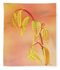 Stylized Baby Chestnut Leaves Fleece Blanket