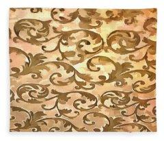 Stylized Foliage Leaves In Gold Fleece Blanket