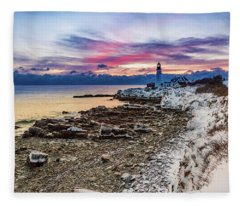 Subtle Sunrise At Portland Head Light Fleece Blanket