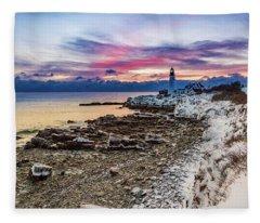 Subtle Sunrise At Portland Head Light Fleece Blanket