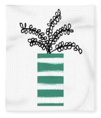 Succulent In Green Pot 1- Art By Linda Woods Fleece Blanket