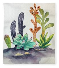 Succulents Desert Fleece Blanket
