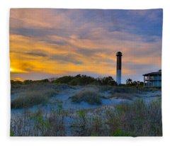 Sullivan's Island Lighthouse At Dusk - Sullivan's Island Sc Fleece Blanket