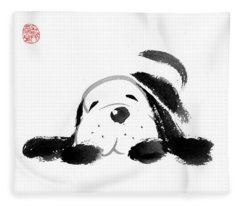 Sumi-e Dog Fleece Blanket