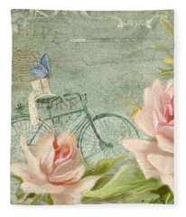 Summer At Cape May - Bicycle N Porch Roses Fleece Blanket