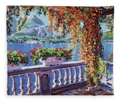 Summer At Lake Como Fleece Blanket