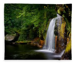 Summer At Wolf Creek Falls Fleece Blanket