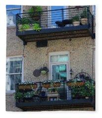 Summer Balconies In Chicago Illinois Fleece Blanket