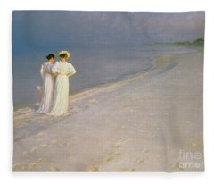 Summer Evening On The Skagen Southern Beach With Anna Ancher And Marie Kroyer Fleece Blanket