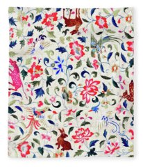 Summer Flora And Fauna Fleece Blanket