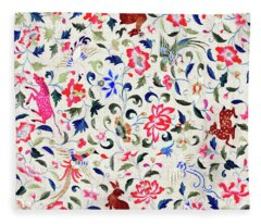 Summer Flora And Fauna Fleece Blanket