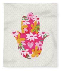 Summer Garden Hamsa- Art By Linda Woods Fleece Blanket