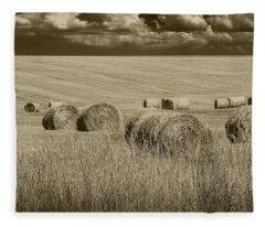 Summer Harvest Field With Hay Bales In Sepia Fleece Blanket