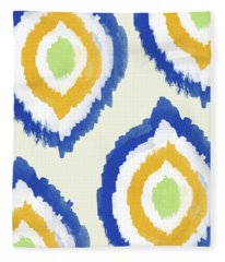 Summer Ikat- Art By Linda Woods Fleece Blanket