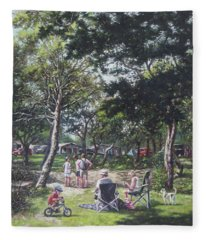 Summer New Forest Picnic Fleece Blanket