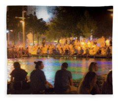 Fleece Blanket featuring the photograph Summer Night At The Pool by Alex Lapidus