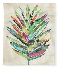 Summer Palm Leaf- Art By Linda Woods Fleece Blanket