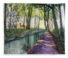 Summer Shade In Lowthorpe Wood Fleece Blanket