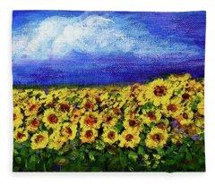 Summer Sunflowers Fleece Blanket