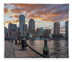 Summer Sunset At Boston's Fan Pier Fleece Blanket