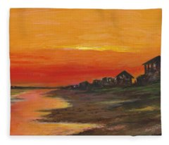 Summer Sunset At  Crystal Beach Fleece Blanket