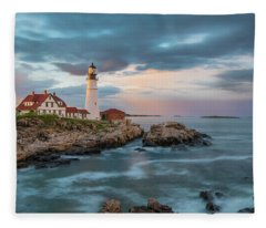 Summer Sunset At Portland Head Light Fleece Blanket
