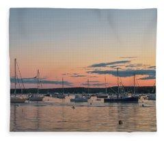 Summer Sunset In Boothbay Harbor Fleece Blanket