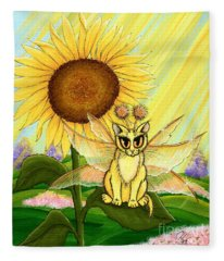 Summer Sunshine Fairy Cat Fleece Blanket