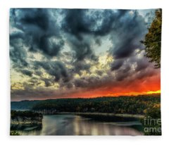 Summersville Lake Fiery Sunrise Fleece Blanket