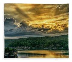 Summersville Lake Sunrise Fleece Blanket