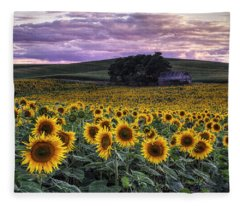 Summertime Sunflowers Fleece Blanket