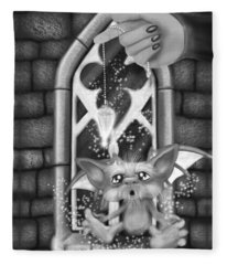 Summoned Pet - Black And White Fantasy Art Fleece Blanket