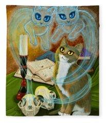 Summoning Old Friends - Ghost Cats Magic Fleece Blanket