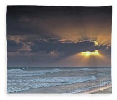 Sun And Clouds In Ilha Deserta. Algarve Fleece Blanket