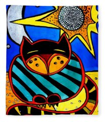 Sun And Moon - Honourable Cat - Art By Dora Hathazi Mendes Fleece Blanket