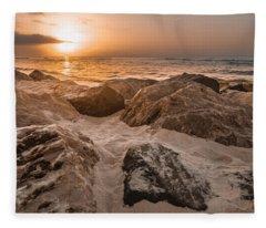 Sun Coming Over The Rocks  Fleece Blanket